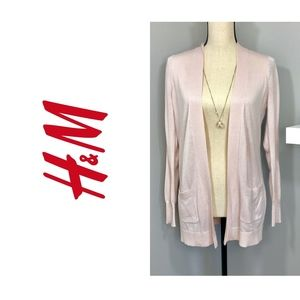 Pink Sheer Long Sleeve Cardigan by H&M Sz S